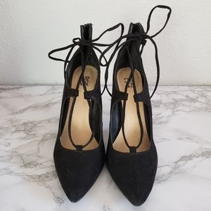 New York and Company Black Lace up Heels